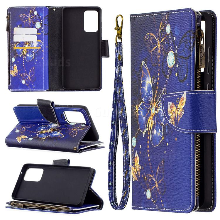 Purple Butterfly Binfen Color BF03 Retro Zipper Leather Wallet Phone Case for Samsung Galaxy A72 (4G, 5G)