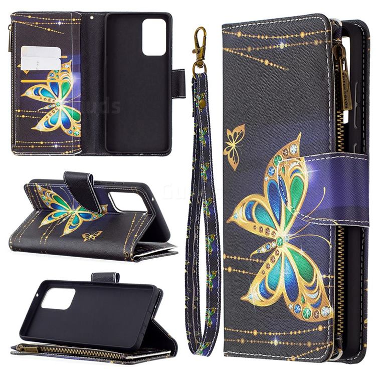 Golden Shining Butterfly Binfen Color BF03 Retro Zipper Leather Wallet Phone Case for Samsung Galaxy A72 (4G, 5G)