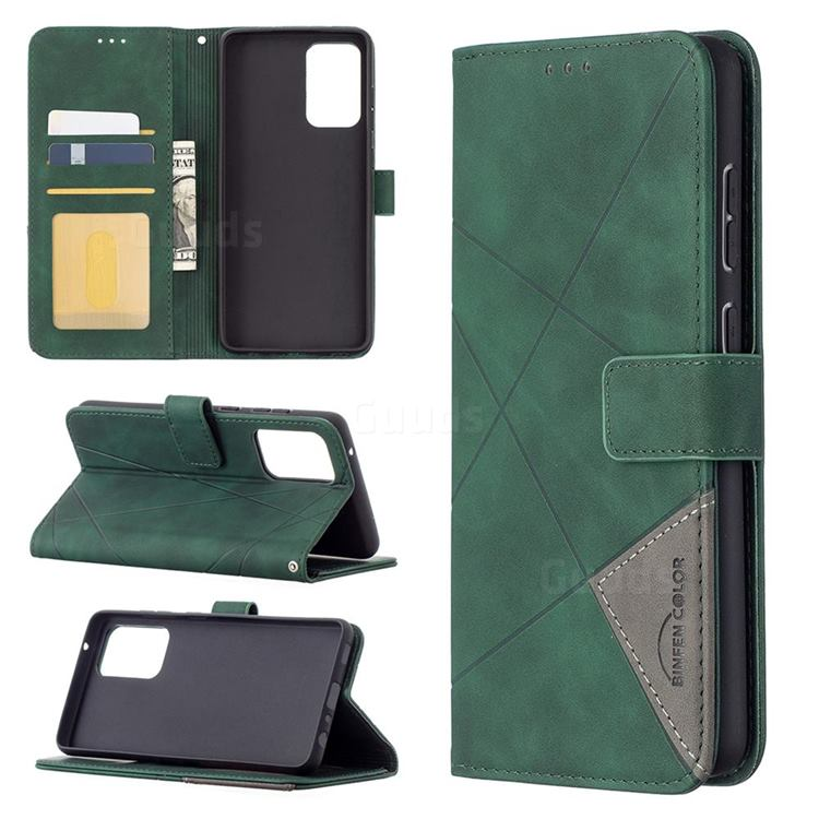 Binfen Color BF05 Prismatic Slim Wallet Flip Cover for Samsung Galaxy A72 (4G, 5G) - Green