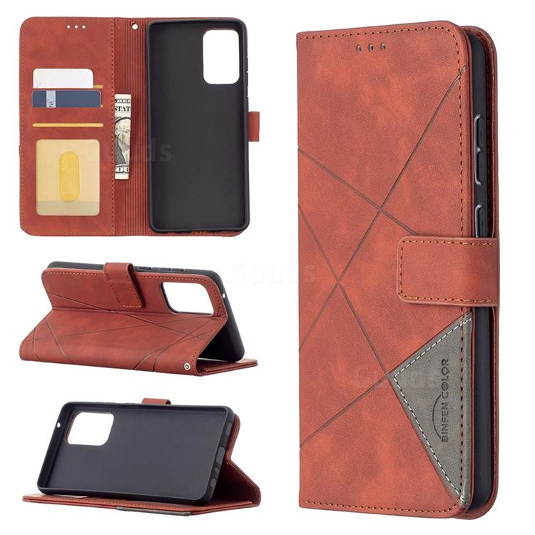 Binfen Color BF05 Prismatic Slim Wallet Flip Cover for Samsung Galaxy A72 (4G, 5G) - Brown