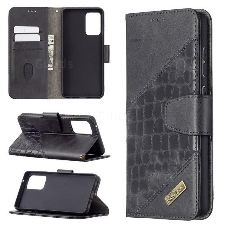 BinfenColor BF04 Color Block Stitching Crocodile Leather Case Cover for Samsung Galaxy A72 (4G, 5G) - Black