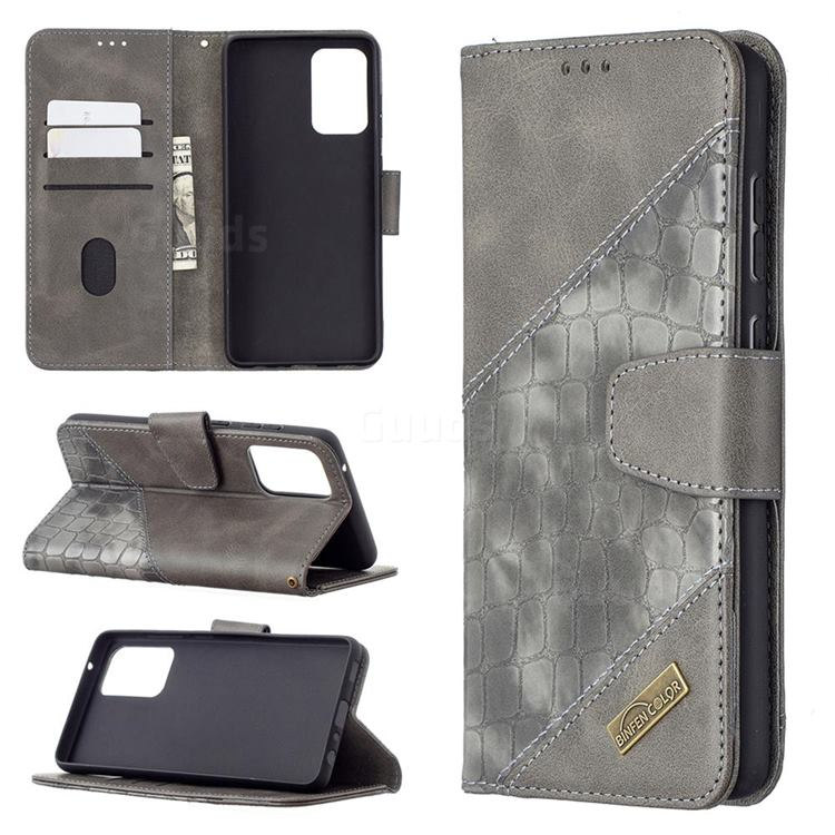 BinfenColor BF04 Color Block Stitching Crocodile Leather Case Cover for Samsung Galaxy A72 (4G, 5G) - Gray
