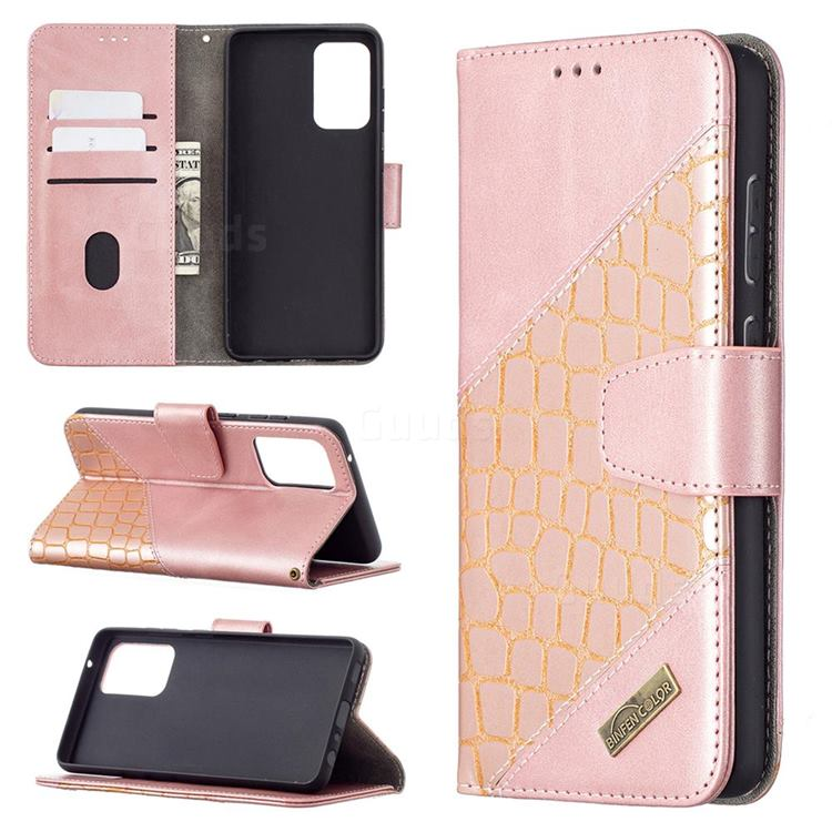 BinfenColor BF04 Color Block Stitching Crocodile Leather Case Cover for Samsung Galaxy A72 (4G, 5G) - Rose Gold