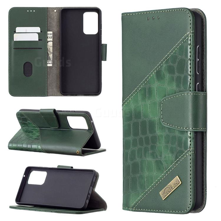 BinfenColor BF04 Color Block Stitching Crocodile Leather Case Cover for Samsung Galaxy A72 (4G, 5G) - Green