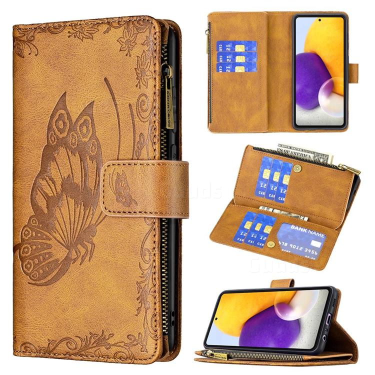 Binfen Color Imprint Vivid Butterfly Buckle Zipper Multi-function Leather Phone Wallet for Samsung Galaxy A72 (4G, 5G) - Brown