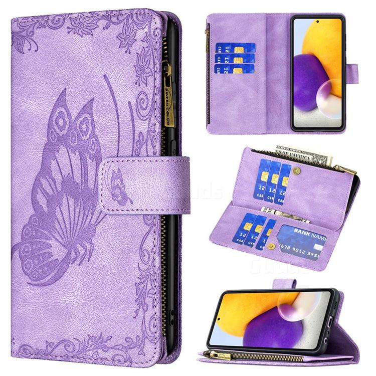 Binfen Color Imprint Vivid Butterfly Buckle Zipper Multi-function Leather Phone Wallet for Samsung Galaxy A72 (4G, 5G) - Purple
