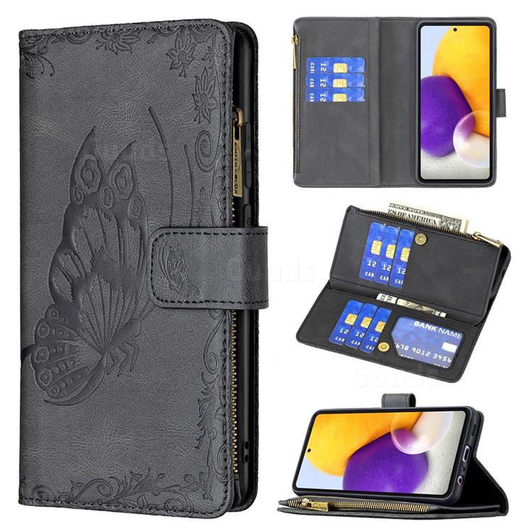 Binfen Color Imprint Vivid Butterfly Buckle Zipper Multi-function Leather Phone Wallet for Samsung Galaxy A72 (4G, 5G) - Black