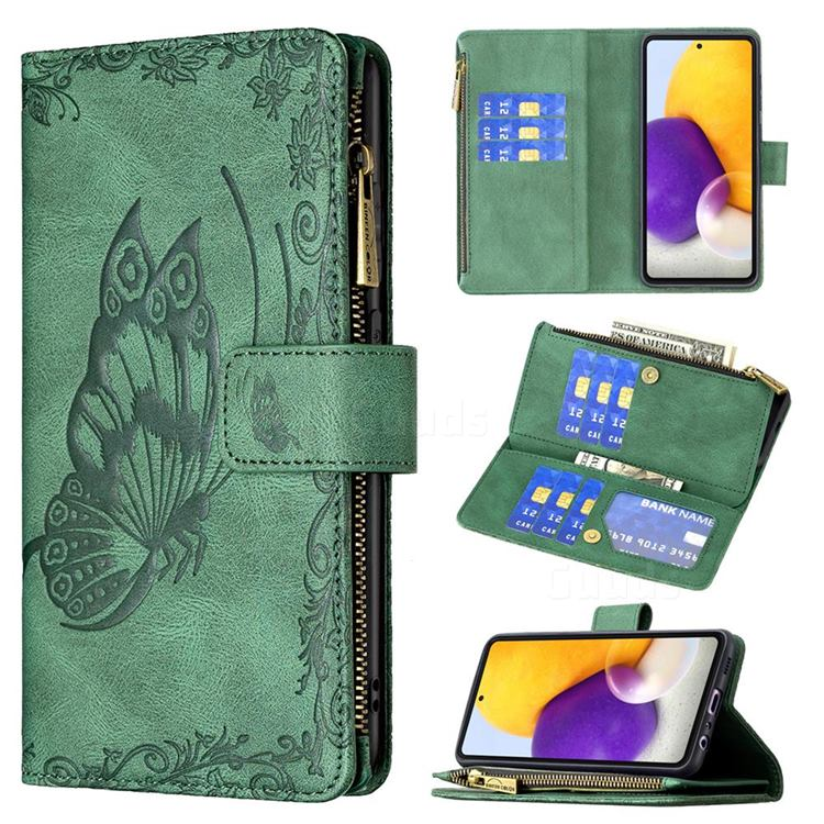Binfen Color Imprint Vivid Butterfly Buckle Zipper Multi-function Leather Phone Wallet for Samsung Galaxy A72 (4G, 5G) - Green
