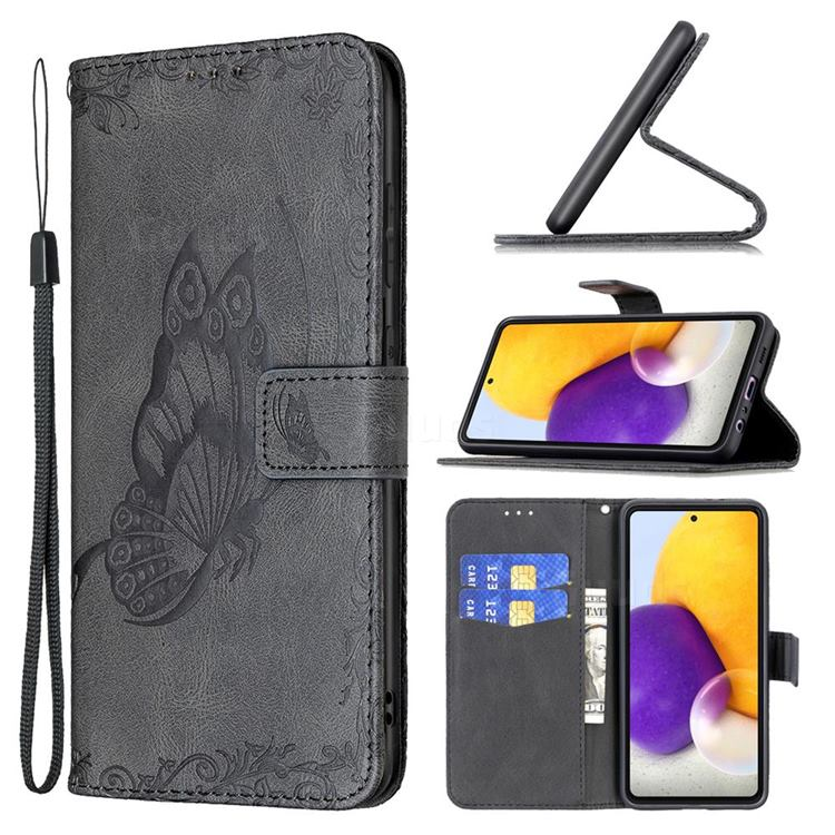 Binfen Color Imprint Vivid Butterfly Leather Wallet Case for Samsung Galaxy A72 (4G, 5G) - Black