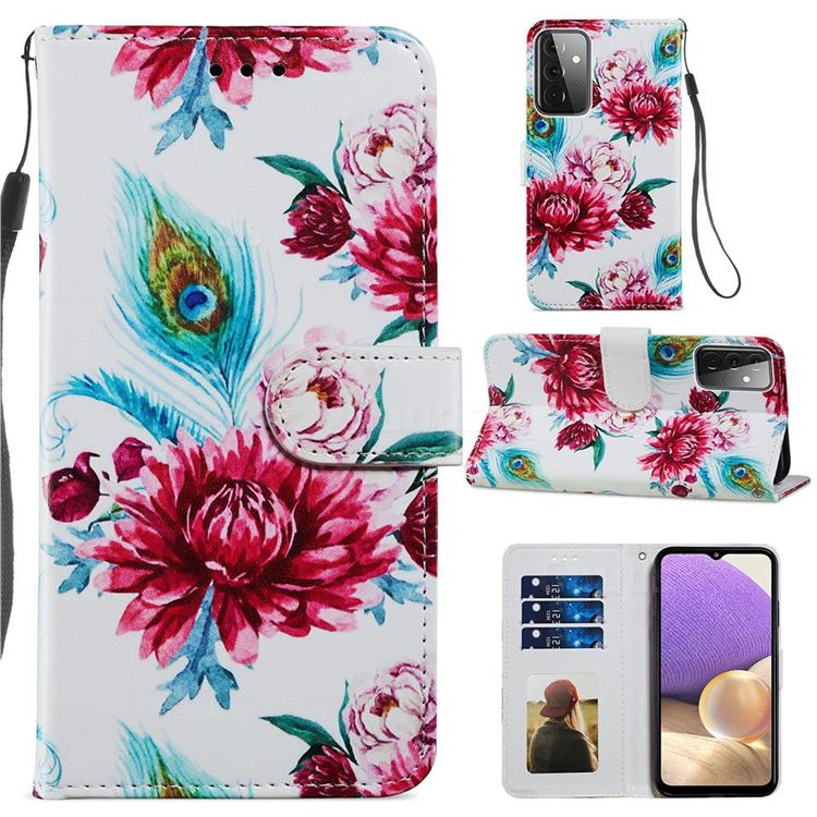 Peacock Flower Smooth Leather Phone Wallet Case for Samsung Galaxy A72 (4G, 5G)