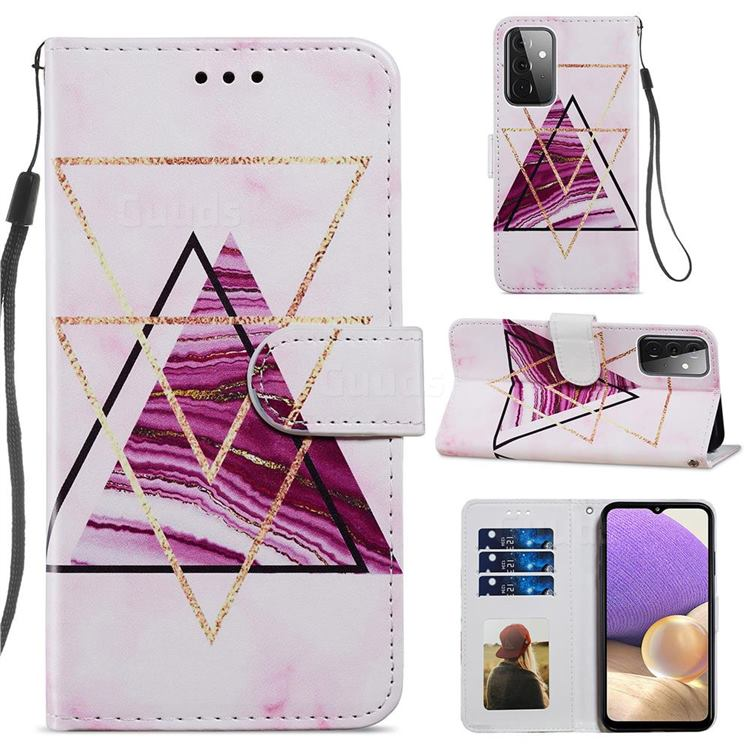 Three-color Marble Smooth Leather Phone Wallet Case for Samsung Galaxy A72 (4G, 5G)