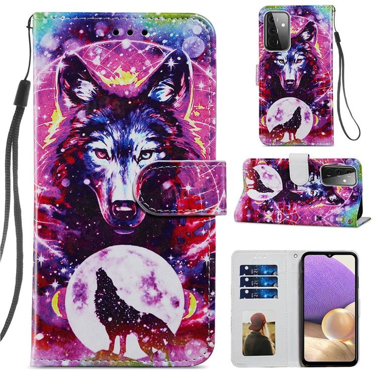 Wolf Totem Smooth Leather Phone Wallet Case for Samsung Galaxy A72 (4G, 5G)