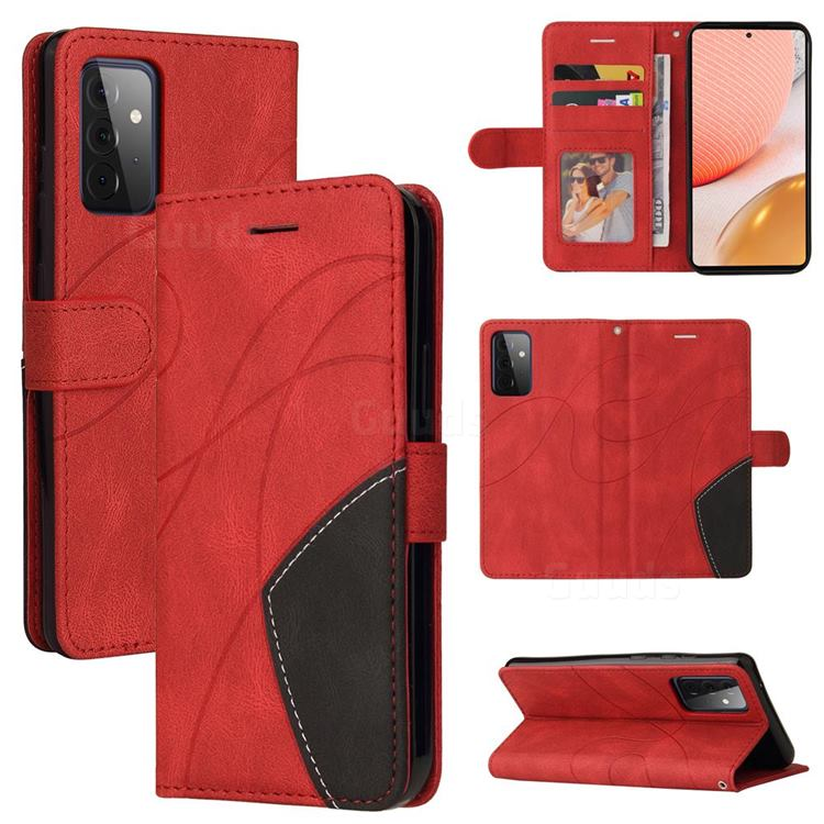 Luxury Two-color Stitching Leather Wallet Case Cover for Samsung Galaxy A72 (4G, 5G) - Red