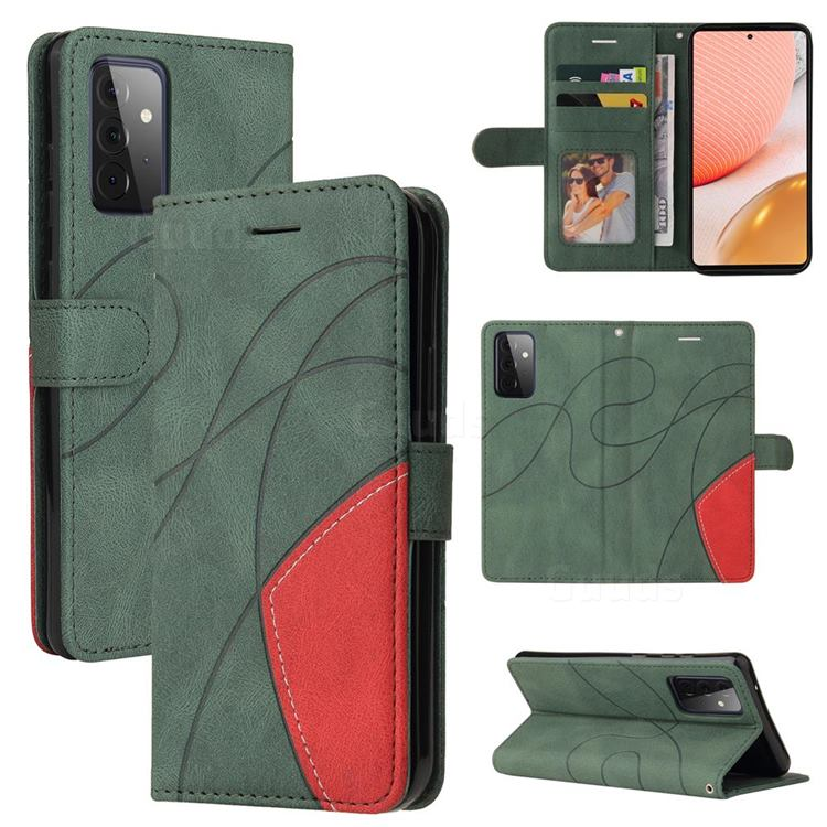 Luxury Two-color Stitching Leather Wallet Case Cover for Samsung Galaxy A72 (4G, 5G) - Green