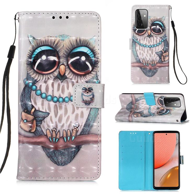 Sweet Gray Owl 3D Painted Leather Wallet Case for Samsung Galaxy A72 (4G, 5G)