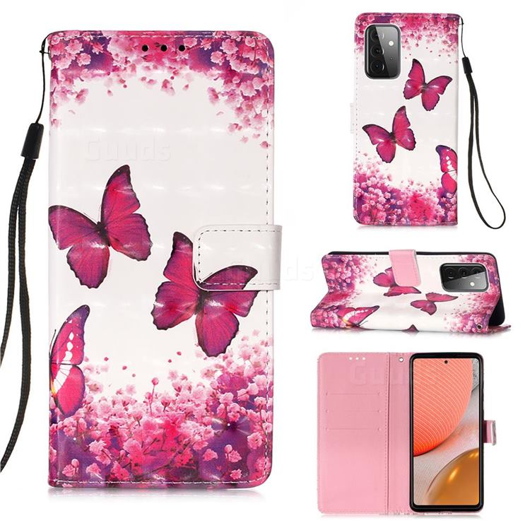 Rose Butterfly 3D Painted Leather Wallet Case for Samsung Galaxy A72 (4G, 5G)