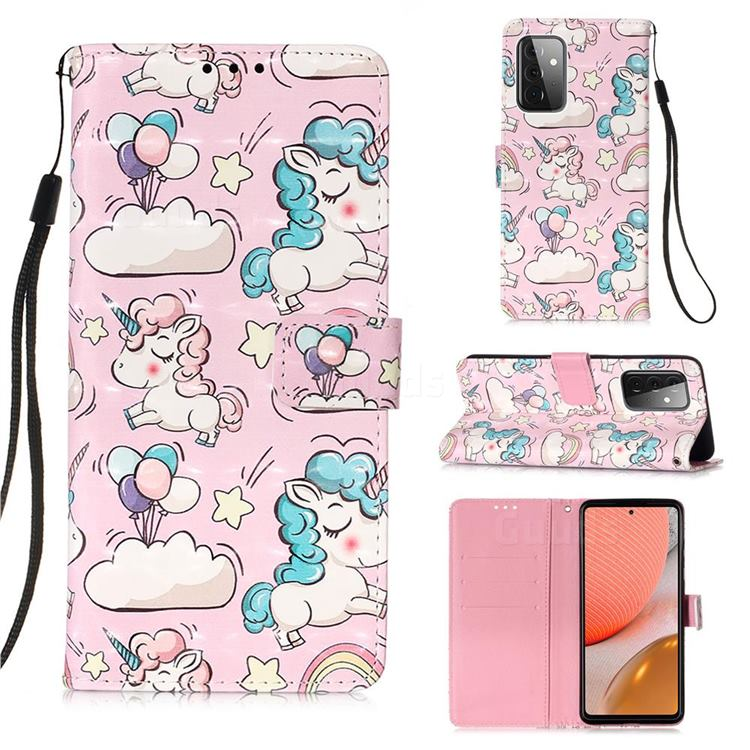 Angel Pony 3D Painted Leather Wallet Case for Samsung Galaxy A72 (4G, 5G)