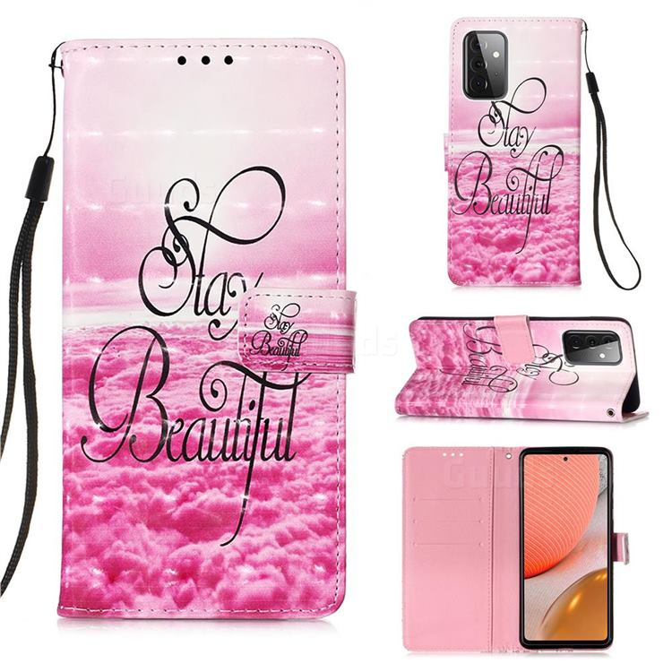 Beautiful 3D Painted Leather Wallet Case for Samsung Galaxy A72 (4G, 5G)