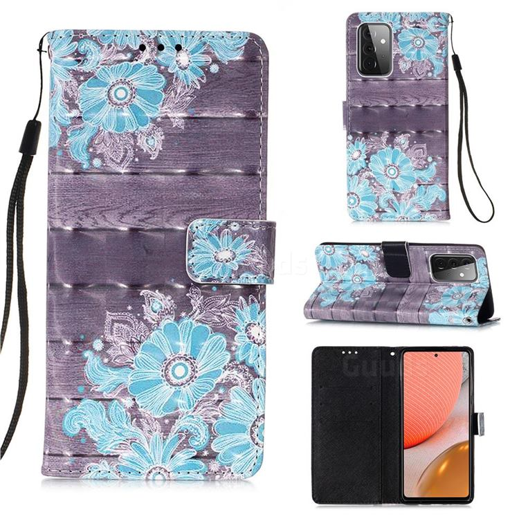 Blue Flower 3D Painted Leather Wallet Case for Samsung Galaxy A72 (4G, 5G)