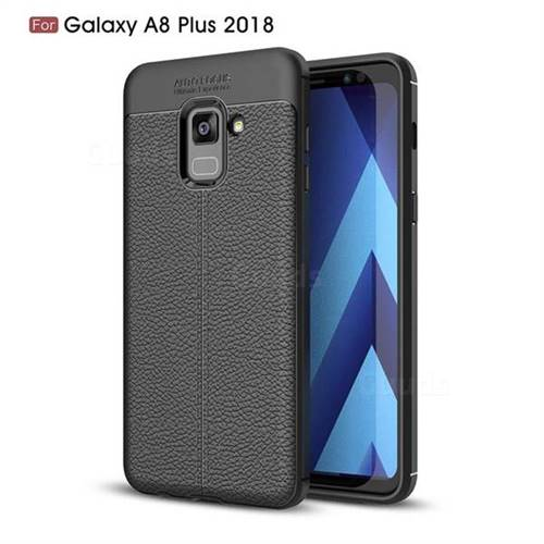 Luxury Auto Focus Litchi Texture Silicone TPU Back Cover for Samsung Galaxy A8+ (2018) - Black
