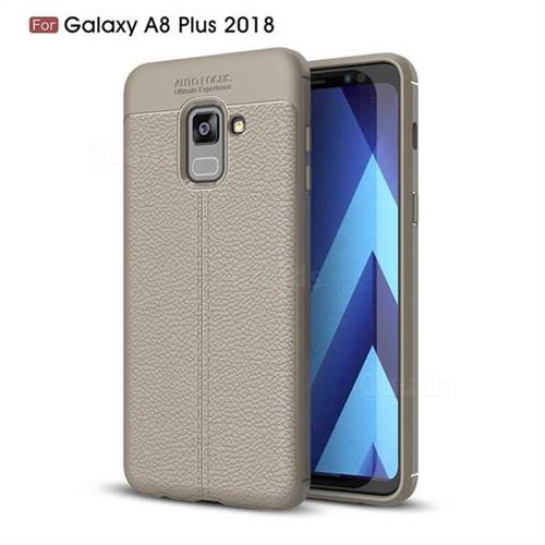 Luxury Auto Focus Litchi Texture Silicone TPU Back Cover for Samsung Galaxy A8+ (2018) - Gray