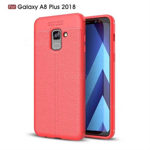 Luxury Auto Focus Litchi Texture Silicone TPU Back Cover for Samsung Galaxy A8+ (2018) - Red