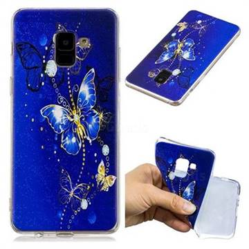 Gold and Blue Butterfly Super Clear Soft TPU Back Cover for Samsung Galaxy A8+ (2018)