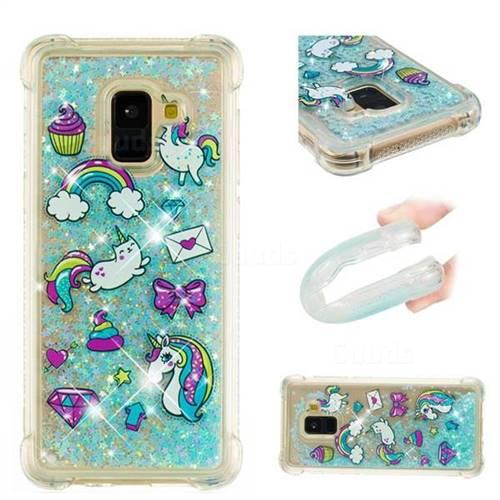 Fashion Unicorn Dynamic Liquid Glitter Sand Quicksand Star TPU Case for Samsung Galaxy A8+ (2018)
