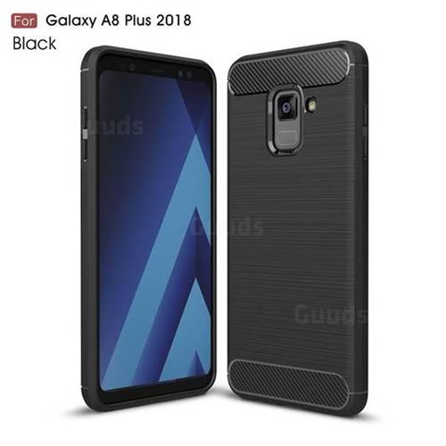 Luxury Carbon Fiber Brushed Wire Drawing Silicone TPU Back Cover for Samsung Galaxy A8+ (2018) - Black