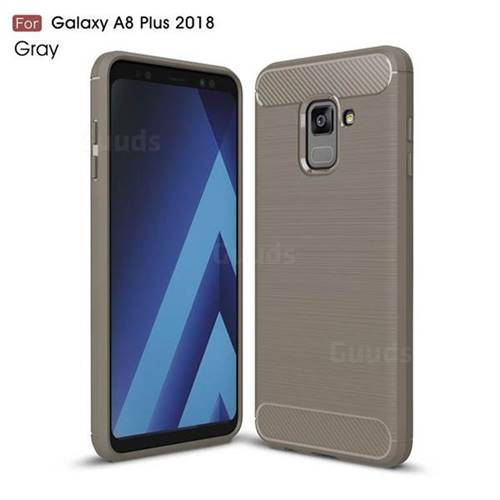 Luxury Carbon Fiber Brushed Wire Drawing Silicone TPU Back Cover for Samsung Galaxy A8+ (2018) - Gray
