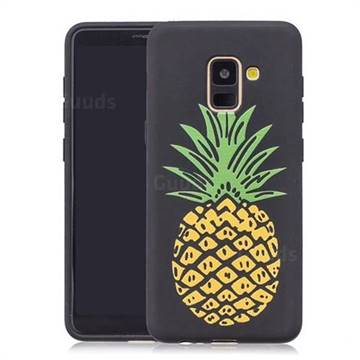 Big Pineapple 3D Embossed Relief Black Soft Back Cover for Samsung Galaxy A8+ (2018)