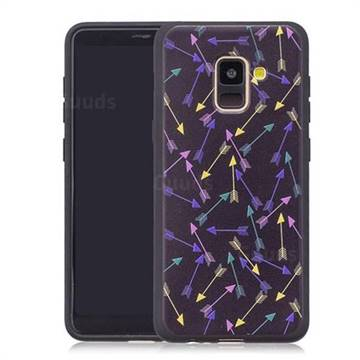 Colorful Arrows 3D Embossed Relief Black Soft Back Cover for Samsung Galaxy A8+ (2018)
