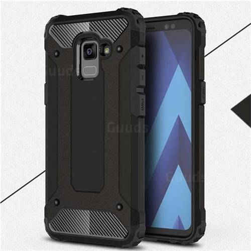 King Kong Armor Premium Shockproof Dual Layer Rugged Hard Cover for Samsung Galaxy A8+ (2018) - Black Gold