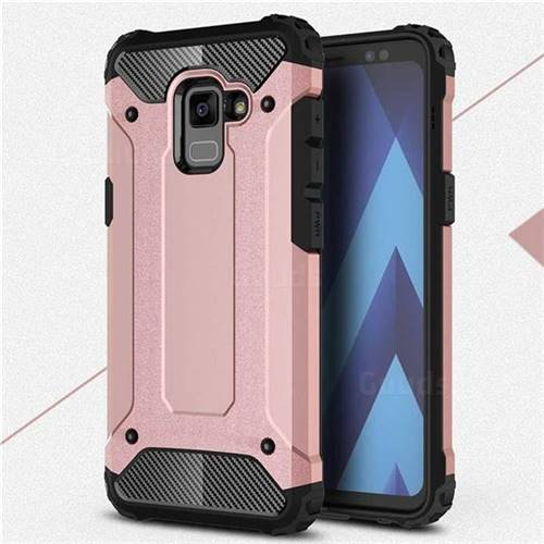 King Kong Armor Premium Shockproof Dual Layer Rugged Hard Cover for Samsung Galaxy A8+ (2018) - Rose Gold