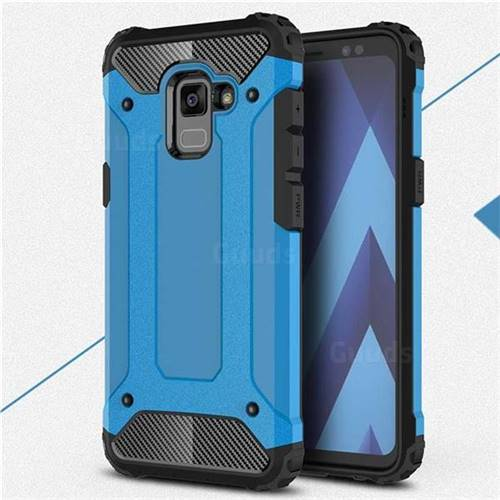King Kong Armor Premium Shockproof Dual Layer Rugged Hard Cover for Samsung Galaxy A8+ (2018) - Sky Blue