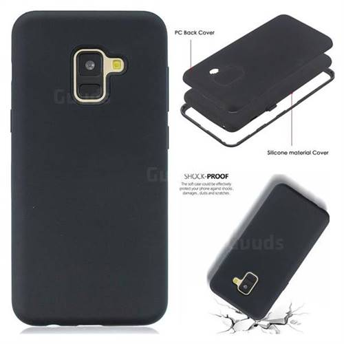 cheap for discount a545c 02d8d Matte PC + Silicone Shockproof Phone Back Cover Case for Samsung Galaxy A8+  (2018) - Black