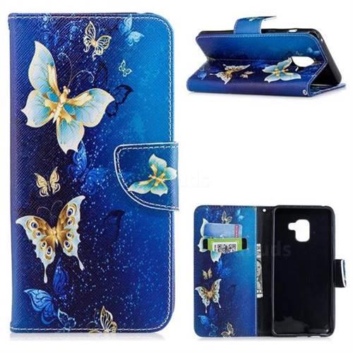 Golden Butterflies Leather Wallet Case for Samsung Galaxy A8+ (2018)