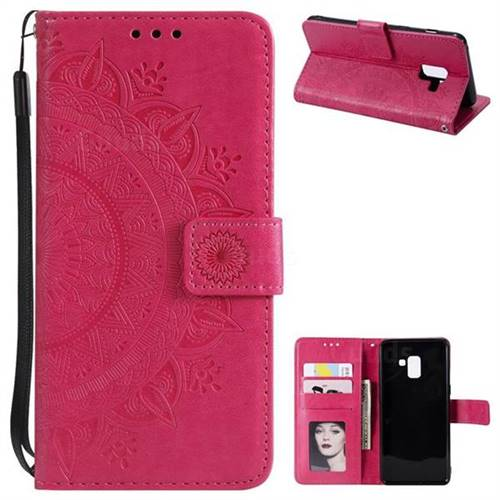Intricate Embossing Datura Leather Wallet Case for Samsung Galaxy A8+ (2018) - Rose Red