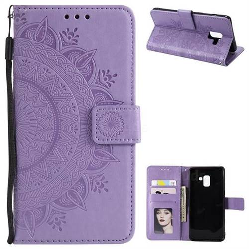 Intricate Embossing Datura Leather Wallet Case for Samsung Galaxy A8+ (2018) - Purple