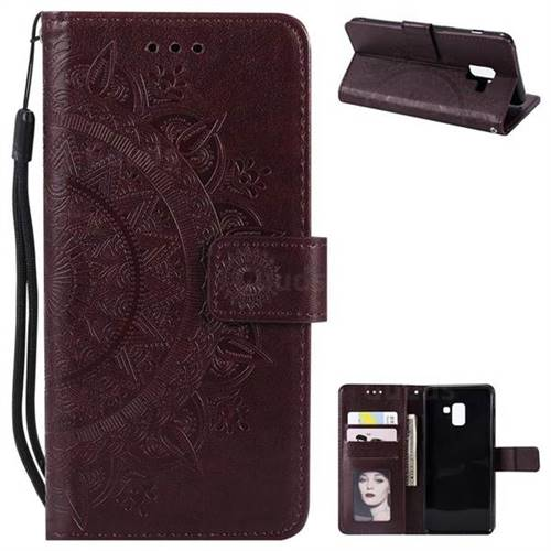 Intricate Embossing Datura Leather Wallet Case for Samsung Galaxy A8+ (2018) - Brown