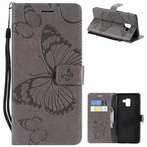 Embossing 3D Butterfly Leather Wallet Case for Samsung Galaxy A8+ (2018) - Gray
