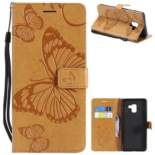 Embossing 3D Butterfly Leather Wallet Case for Samsung Galaxy A8+ (2018) - Yellow