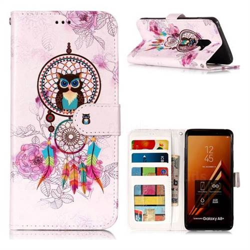 Wind Chimes Owl 3D Relief Oil PU Leather Wallet Case for Samsung Galaxy A8+ (2018)