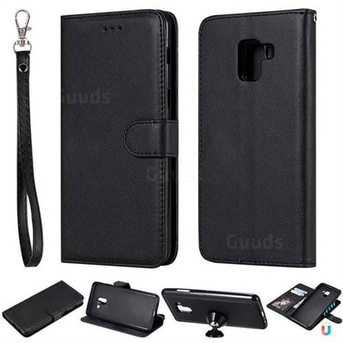 Retro Greek Detachable Magnetic PU Leather Wallet Phone Case for Samsung Galaxy A8+ (2018) - Black