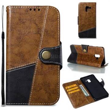 Retro Magnetic Stitching Wallet Flip Cover for Samsung Galaxy A8+ (2018) - Brown