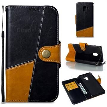 Retro Magnetic Stitching Wallet Flip Cover for Samsung Galaxy A8+ (2018) - Black