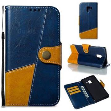 Retro Magnetic Stitching Wallet Flip Cover for Samsung Galaxy A8+ (2018) - Blue