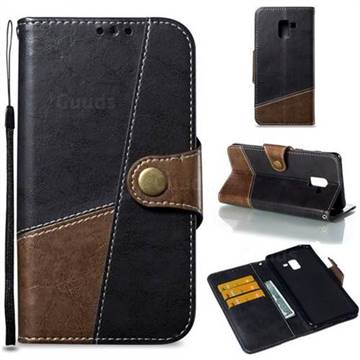 Retro Magnetic Stitching Wallet Flip Cover for Samsung Galaxy A8+ (2018) - Dark Gray
