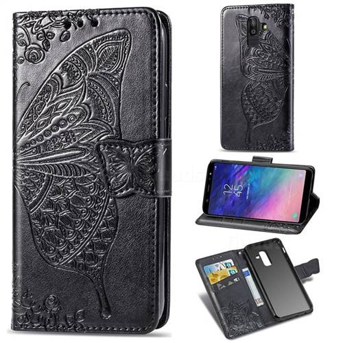 Embossing Mandala Flower Butterfly Leather Wallet Case for Samsung Galaxy A8+ (2018) - Black