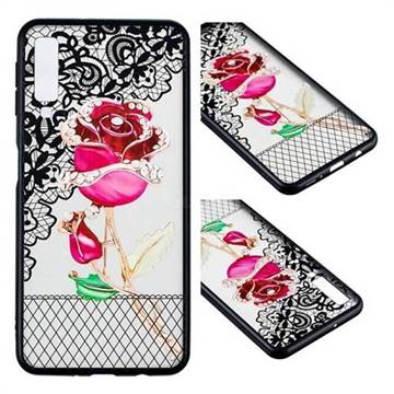Rose Lace Diamond Flower Soft TPU Back Cover for Samsung Galaxy A7 (2018)